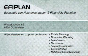 Visitekaartje EFIPLAN achterzijde